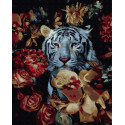Белый тигр в цветах Раскраска картина по номерам на холсте ZX 23874