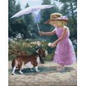 Бассет-хаунд под зонтиком Раскраска картина по номерам на холсте ZX 23905