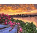 Закат на цветущей крыше Раскраска картина по номерам на холсте ZX 23647