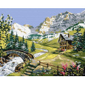 Альпийская река Раскраска картина по номерам на холсте ZX 23694