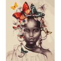 Бабочки у девочки в голове Раскраска картина по номерам на холсте ZX 23903