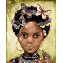 Бабочки на голове Раскраска картина по номерам на холсте ZX 23902