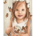 Малышка с бабочками Раскраска картина по номерам на холсте ZX 23773