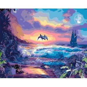 Море на закате Раскраска картина по номерам на холсте PK59063