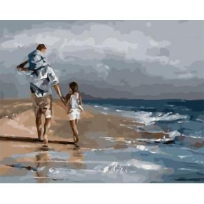 Прогулка у моря Раскраска картина по номерам на холсте PK59105