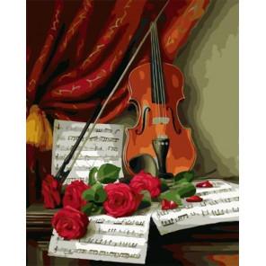 Розы и скрипка Раскраска картина по номерам на холсте PK59065