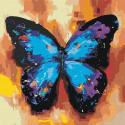 Акварельная бабочка синяя 1 Раскраска картина по номерам на холсте AAAA-RS003-100x100