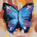 Акварельная бабочка синяя 2 Раскраска картина по номерам на холсте AAAA-RS004-100x100