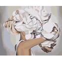Блондинка с пионами 80х100 Раскраска картина по номерам на холсте