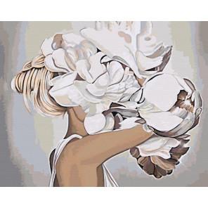 Блондинка с пионами Раскраска картина по номерам на холсте