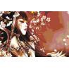 Меч, бабочка и сакура Раскраска картина по номерам на холсте AAAA-FIR115