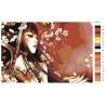 Палитра цветов Меч, бабочка и сакура Раскраска картина по номерам на холсте AAAA-FIR115
