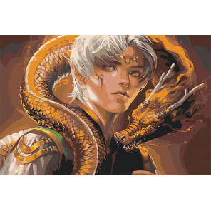 Пример картины в интерьере Юноша и дракон Раскраска картина по номерам на холсте AAAA-GDS111