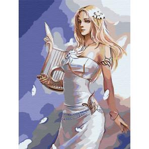 Палитра цветов Девушка с арфой Раскраска картина по номерам на холсте AAAA-FIR117