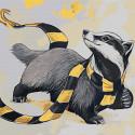 Енот в шарфе Раскраска картина по номерам на холсте AAAA-JV12-80x80