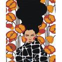 Девушка с оранжево-красными цветами Раскраска картина по номерам на холсте AAAA-DV02-100x125