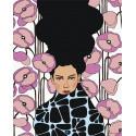 Девушка с пурпурно-розовыми цветами Раскраска картина по номерам на холсте AAAA-DV04-80x100