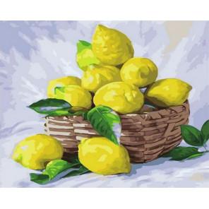 Корзинка с лимонами Раскраска картина по номерам на холсте PK68019