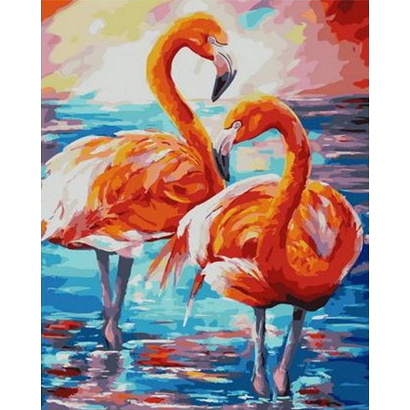 PK68098 Парочка фламинго Раскраска картина по номерам на ...