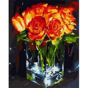 Огненные розы Раскраска картина по номерам на холсте PK68075