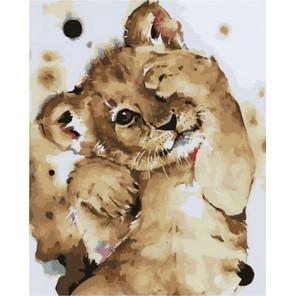 Скромный львенок Раскраска картина по номерам на холсте PK68062