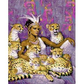 Египетская правительница с леопардами Раскраска картина по номерам на холсте PK68056