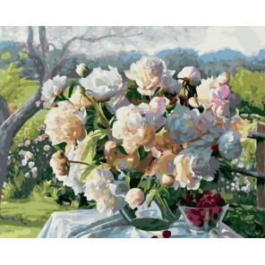 Букет в летнем саду Раскраска картина по номерам на холсте PK68048