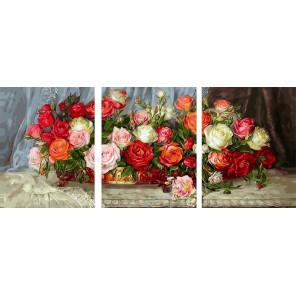 Розы Триптих Раскраска картина по номерам на холсте TPK59014