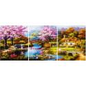 Цветение сакуры Триптих Раскраска картина по номерам на холсте PX5306