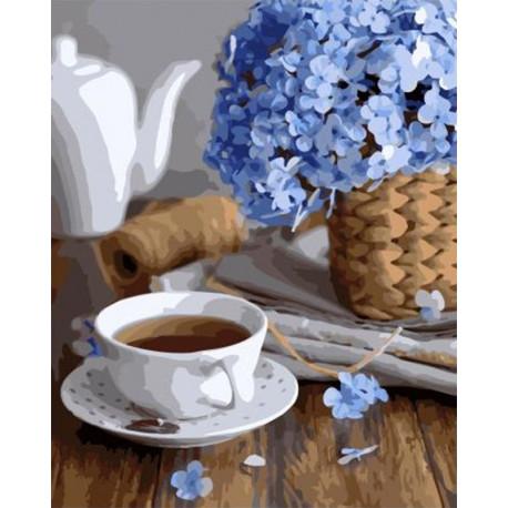 Незабудки и чашка чая Раскраска картина по номерам на холсте GX34825