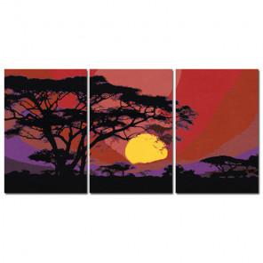 Африка Триптих Раскраска картина по номерам на холсте AAAA-TRIPT002