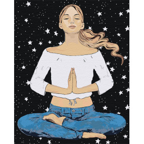 Пример в интерьере Медитация Раскраска картина по номерам на холсте AAAA-DV05-80x100
