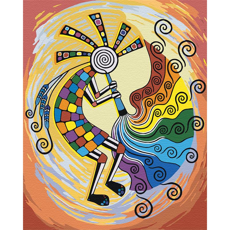 AAAA-RS008 Кокопелли. Этнический бог изобилия Раскраска ...