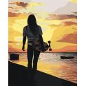 Девушка со скейтбордом Раскраска картина по номерам на холсте AAAA-RS009