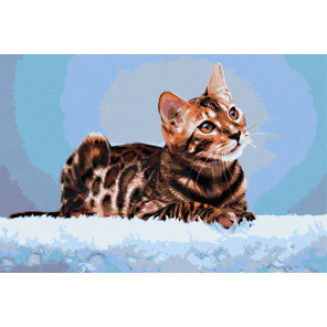 Пример в интерьере Бенгальская кошка Раскраска картина по номерам на холсте AAAA-RS017