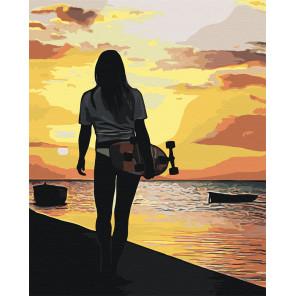 Девушка со скейтбордом Раскраска картина по номерам на холсте AAAA-RS009-100x125