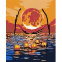 Луна. Одых при свечах Раскраска картина по номерам на холсте AAAA-RS019-80x100