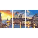Вечерняя Венеция Триптих Раскраска картина по номерам на холсте AAAA-TRIPT005