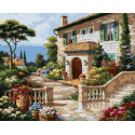 Средиземноморский сад Раскраска картина по номерам на холсте GX36476