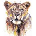 Акварельная львица Раскраска картина по номерам на холсте GX36718