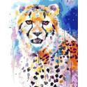 Акварельный гепард Раскраска картина по номерам на холсте GX36715