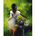 Девушка с букетом Раскраска картина по номерам на холсте ZX 20518