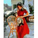 Дама с шляпкой Раскраска картина по номерам на холсте ZX 22858
