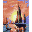 Парусники на закате Раскраска картина по номерам на холсте ZX 23960