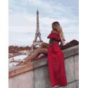 Красотка в розовом в Париже Раскраска картина по номерам на холсте ZX 23793