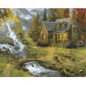 Домик у горной реки Раскраска картина по номерам на холсте ZX 20036