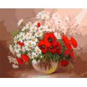 Маки ромашки Раскраска картина по номерам на холсте ZX 10021