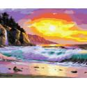 Волны на закате Раскраска картина по номерам на холсте ZX 23357