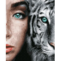 Дикие. Белый тигр Раскраска картина по номерам на холсте ZX 23276