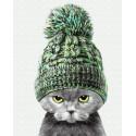 Кот в теплой шапке Раскраска картина по номерам на холсте ZX 23378